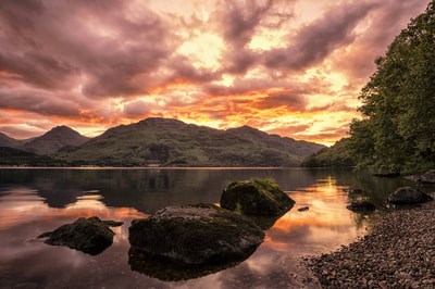A  fantastic sunset over Loch Lomond  take at Inversnaid.