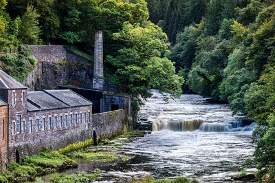 One of the small falls on the Clyde next to New Lanark heritage mill.