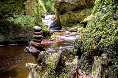A stone stack balancing on a tree trunk at the Devil's pulpit.
